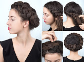 Process of weaving braid. Hairstyle for long hair. Boho style. Hairstyle volume braided crown tutorial step by step. Hairstyle for long hair. Fashionable hairstyle for rippled hair