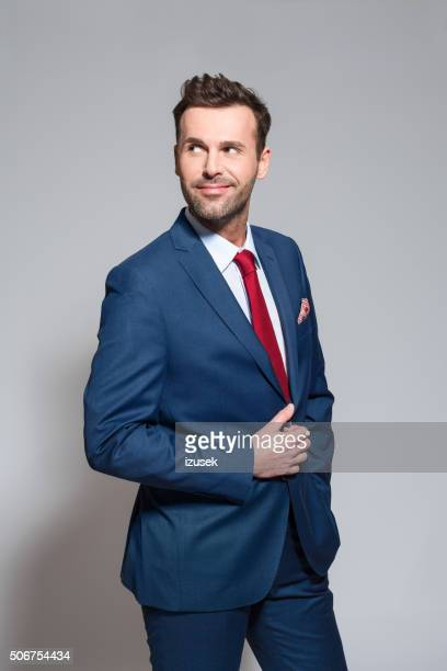 Fashionable businessman wearing elegant suit