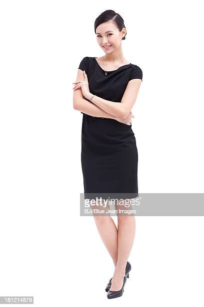 Fashionable businesswoman arms crossed