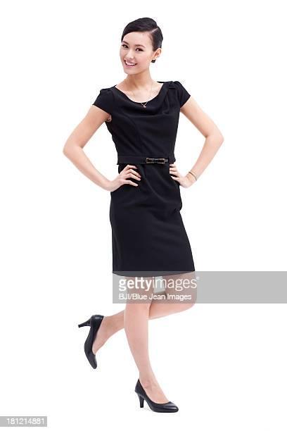 Fashionable businesswoman hands on hip