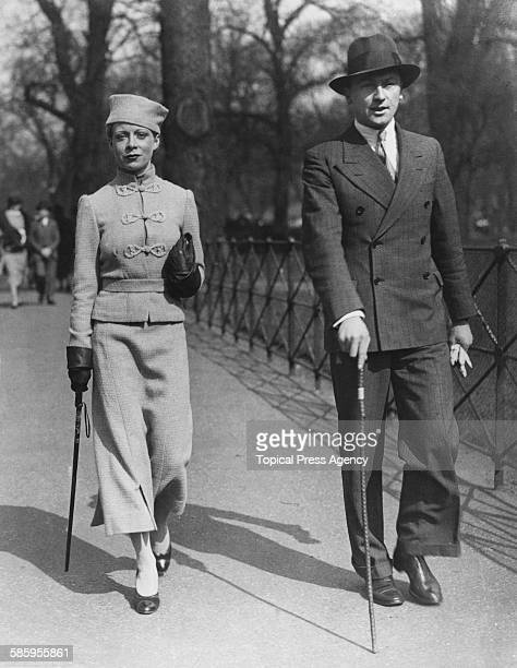 A fashionable couple strolling in Hyde Park London 22nd March 1936