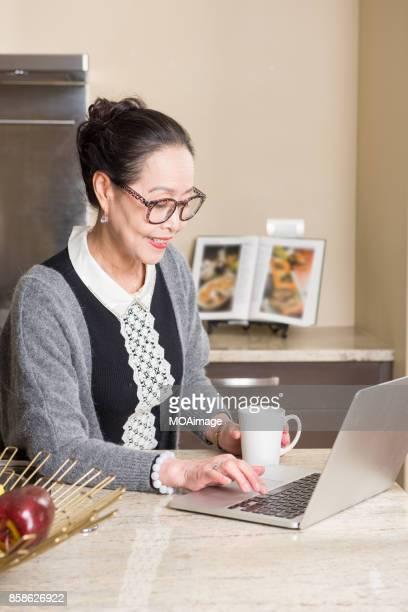 Fashionable mature woman using laptop