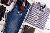 Fashionable men's clothing. Apparel with Accessories.