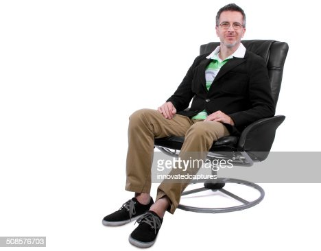 Fashionable Middle Aged Man With Shoes and No Socks : Stock Photo