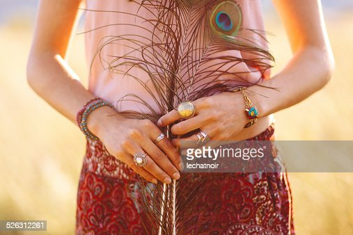 fashionable woman wearing gypsy vintage accessories