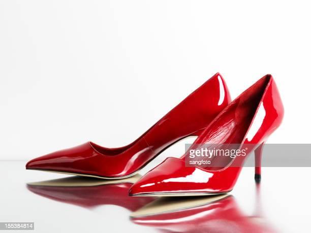 Moda feminino sapatos de salto alto vermelho com reflexão