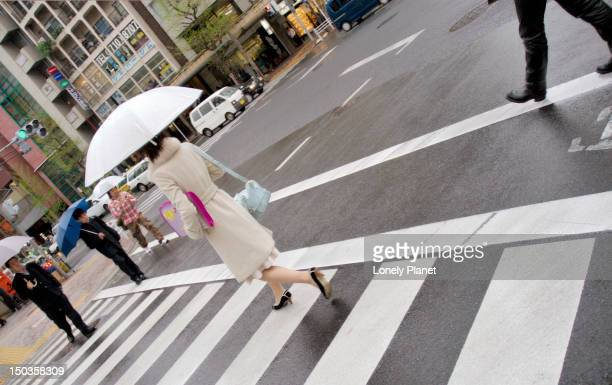 Fashionably dressed woman with umbrella crossing road, Daikanyama.