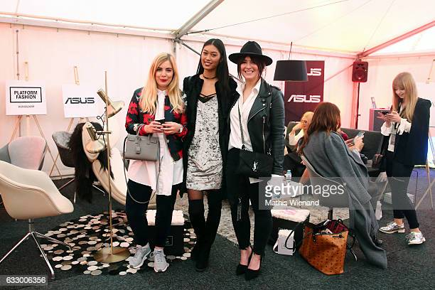 Fashionblogger Katharina Bansemer Model Anuthida Ploypetch and Fashionblogger Jennifer Schleich attend the Fashionbloggercafe during Platform Fashion...