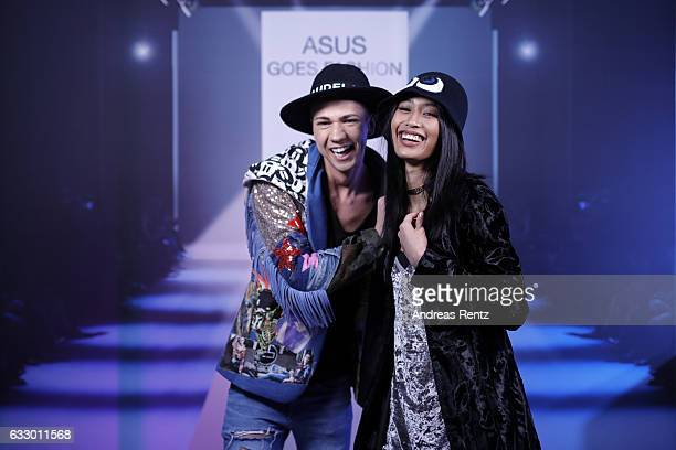 Fashionblogger Maximilian Seitz and Model Anuthida Ploypetch attend the Fashionbloggercafe during Platform Fashion January 2017 at Areal Boehler on...