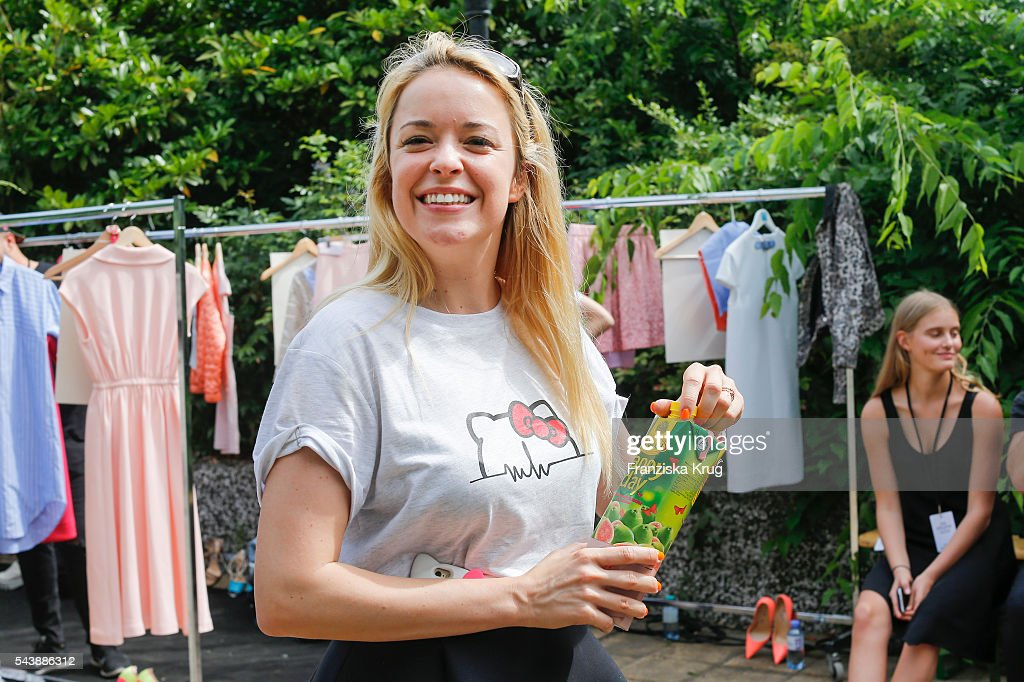 Fashiondesigner Marina Hoermanseder attends the presentation of the Rauch Happy Day Limited Edition designed by Marina Hoermanseder ahead of the Marina Hoermanseder defilee during the Der Berliner Mode Salon Spring/Summer 2017 at Kronprinzenpalais on June 30, 2016 in Berlin, Germany.