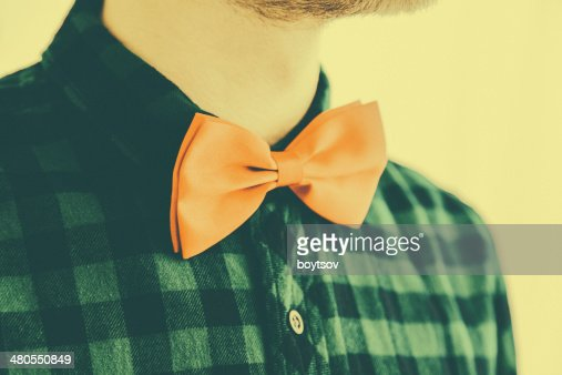 Fashioned vintage red bowtie in retro style : Stock Photo