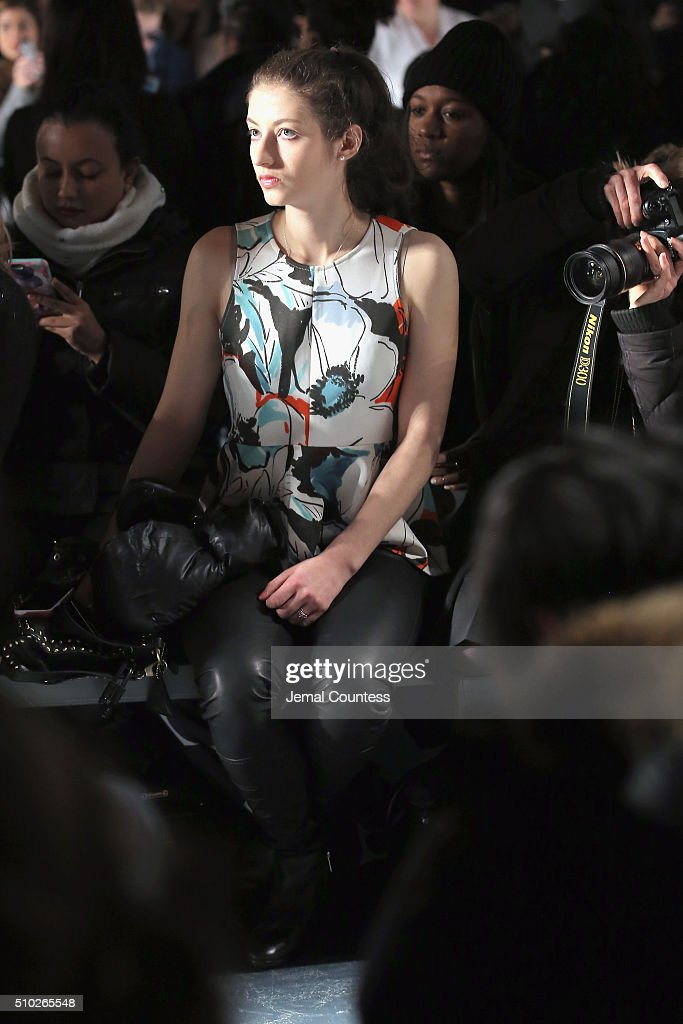 A fashiongoer attends Asia Fashion Collection Fall / Winter 2016 - Front Row at Pier 59 Studios on February 14, 2016 in New York City.