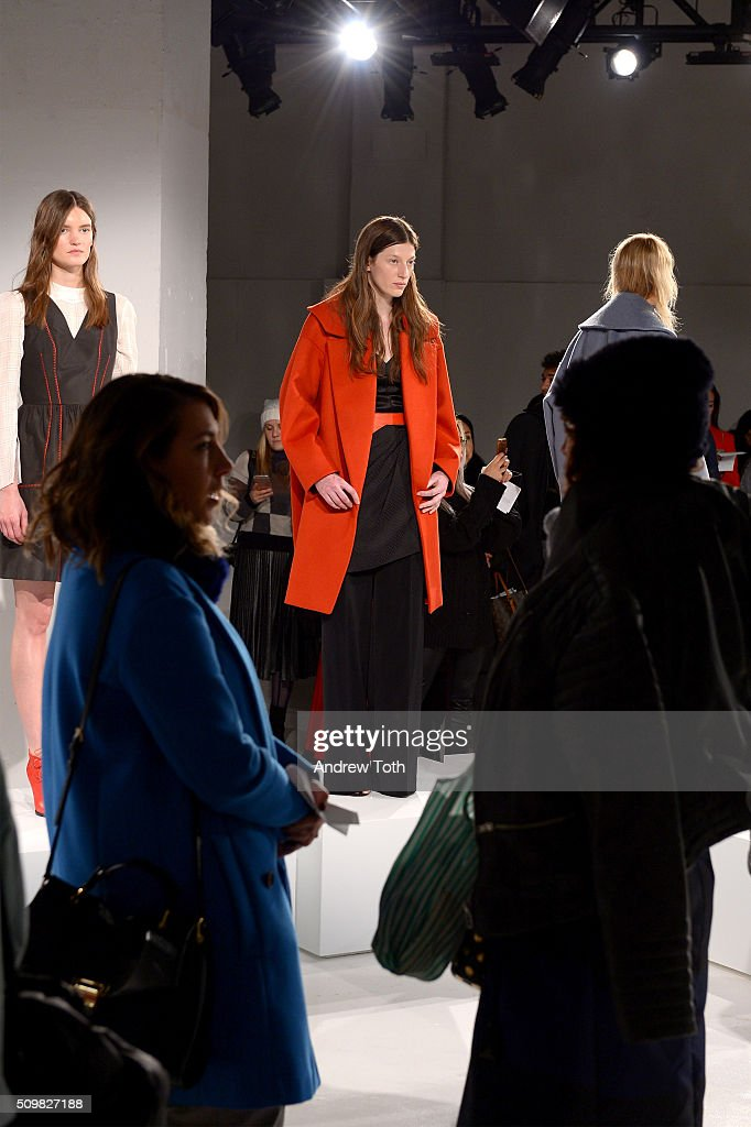 Fashiongoers attend O'2nd Fall 2016 during New York Fashion Week: The Shows at The Space, Skylight at Clarkson Sq on February 12, 2016 in New York City.