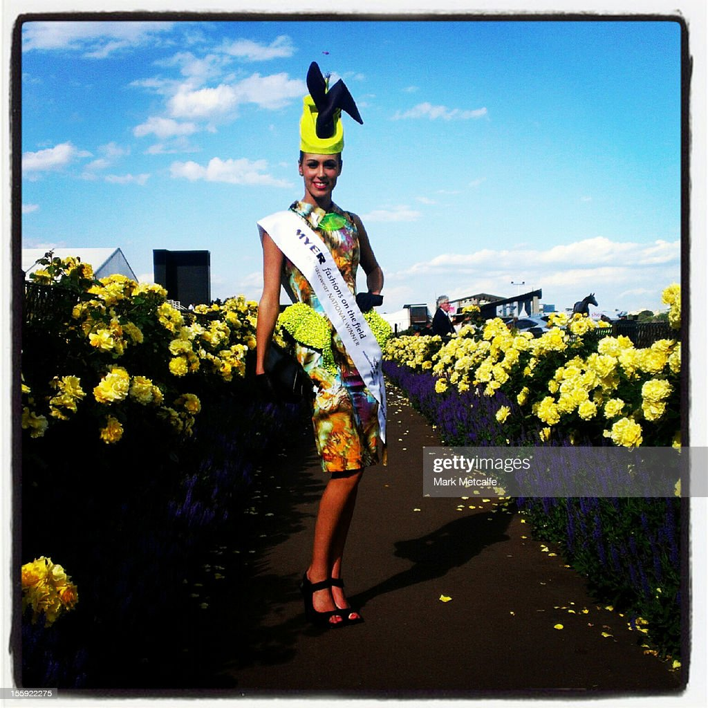Fashions in the Field winner Amy Robson poses during Crown Oaks Day at Flemington Racecourse on November 8, 2012 in Melbourne, Australia.