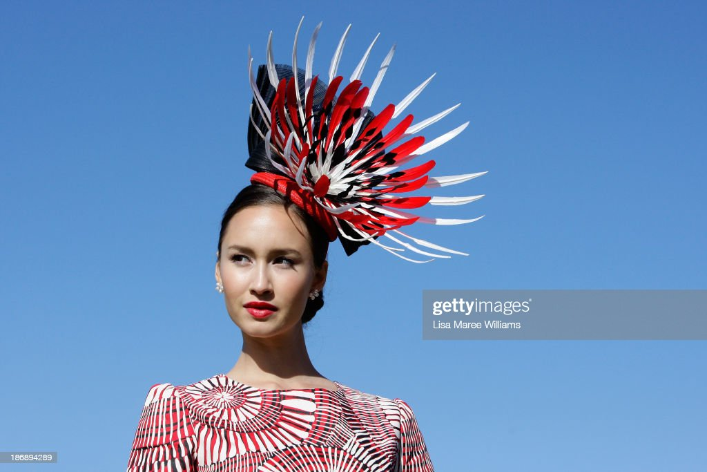 A Fashions on the Field contestant poses during Melbourne Cup Day at Flemington Racecourse on November 5, 2013 in Melbourne, Australia.