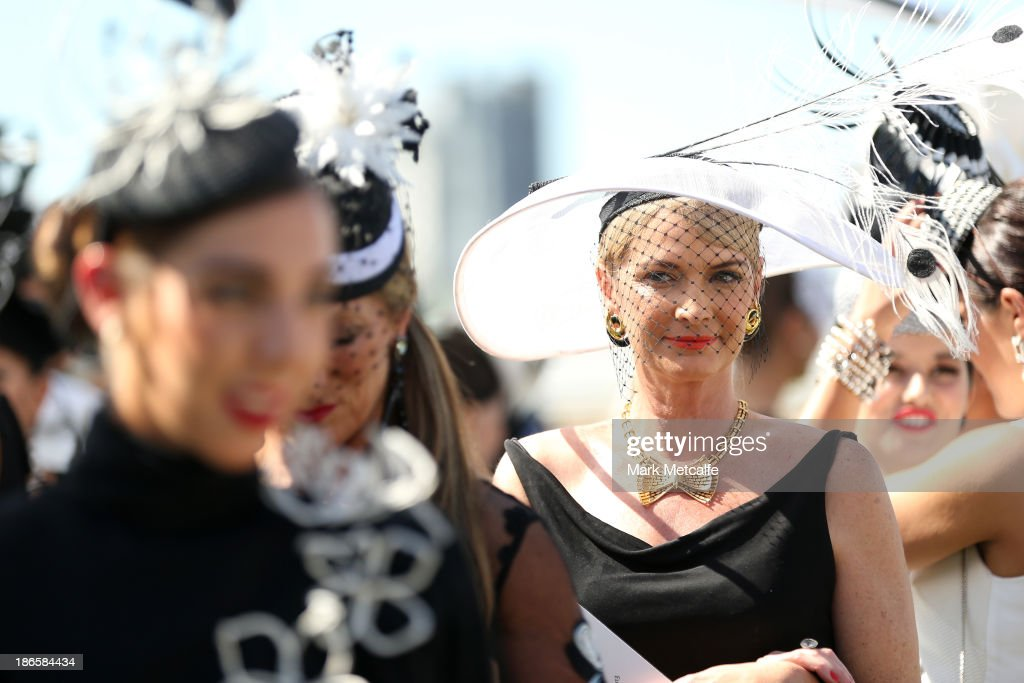 Fashions on the Field entrants line up on Victoria Derby Day at Flemington Racecourse on November 2, 2013 in Melbourne, Australia.