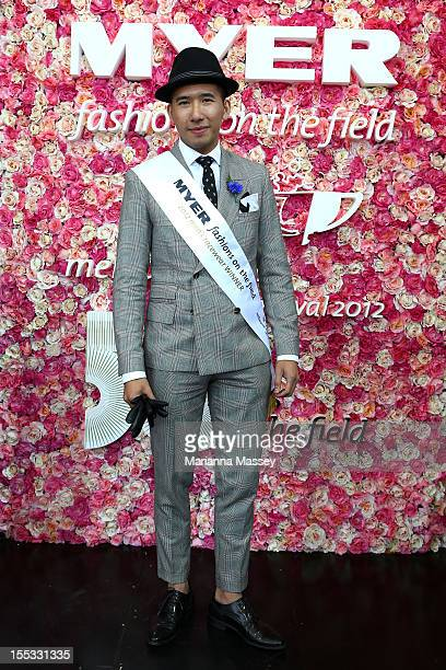 Fashions on the Field men's Racewear daily winner Peter Tran poses on Victoria Derby Day at Flemington Racecourse on November 3 2012 in Melbourne...