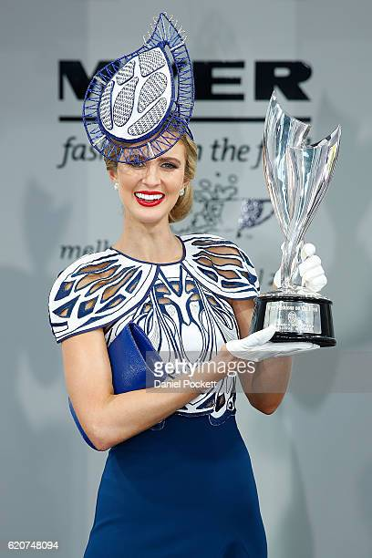 Fashions on the Field National Final winner Courtney Moore poses at the Myer Fashions on the Field Marquee on Crown Oaks Day at Flemington Racecourse...