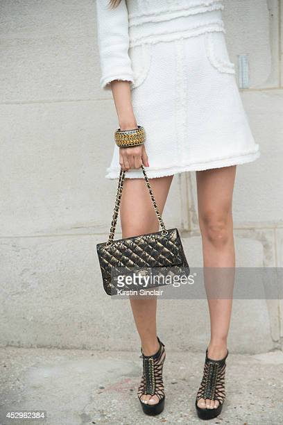 Fashon Editor and Visual Artist Patricia Contrevas wearing a Chanel bag and dress Alexander McQueen shoes Hermes bracelet day 3 of Paris Haute...