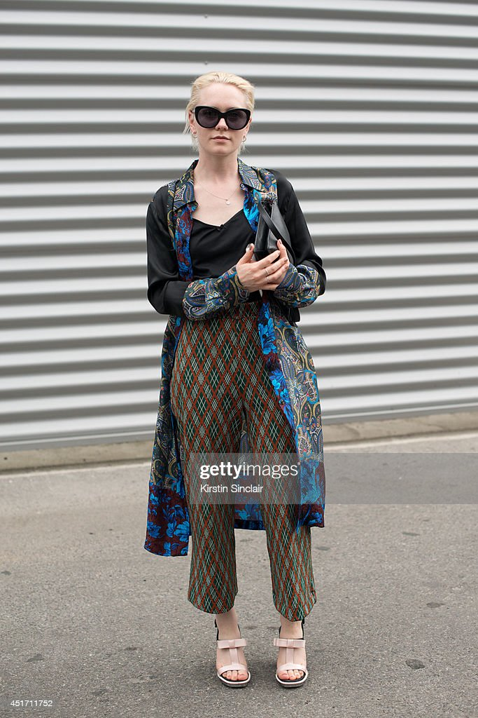 Fashoon Editor Victoria Hicks wearing Paul Smith kimono, vintage trousers and top, Victoria Beckham sunglasses and Prada shoes on day 3 of Paris Collections: Men on JUNE 27, 2014 in Paris, France.