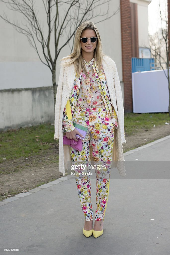 Fasion blogger Helena Bordon wears a Chanel jacket, MSGM shirt and trousers, Celine shoes, Charlotte Olympia bag and Oliver Peoples sunglasses on day 4 of Paris Womens Fashion Week Autumn/Winter 2013 on March 03, 2013 in Paris, France.
