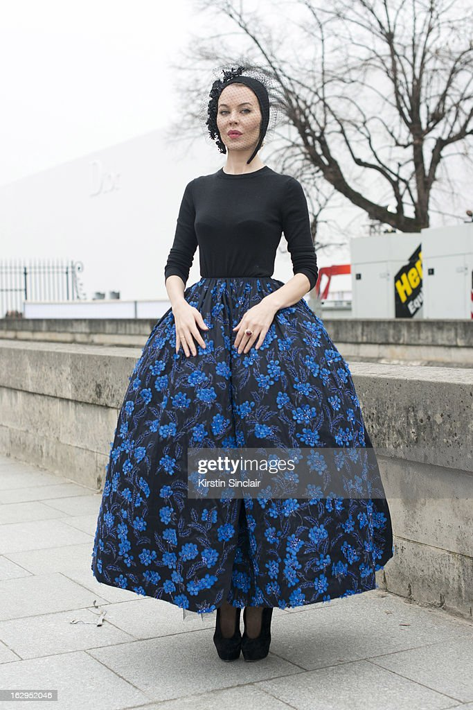 Fasion designer and photographer Ulyana Sergeenko wears Dior Haute Couture on day 2 of Paris Womens Fashion Week Autumn/Winter 2013 on March 1, 2013 in Paris, France.