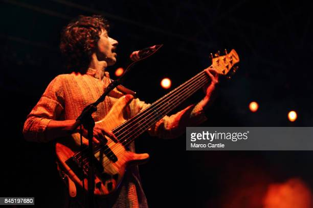 Faso bassist of pop group Elio E Le Storie Tese during a concert at Bagnoli Arenile