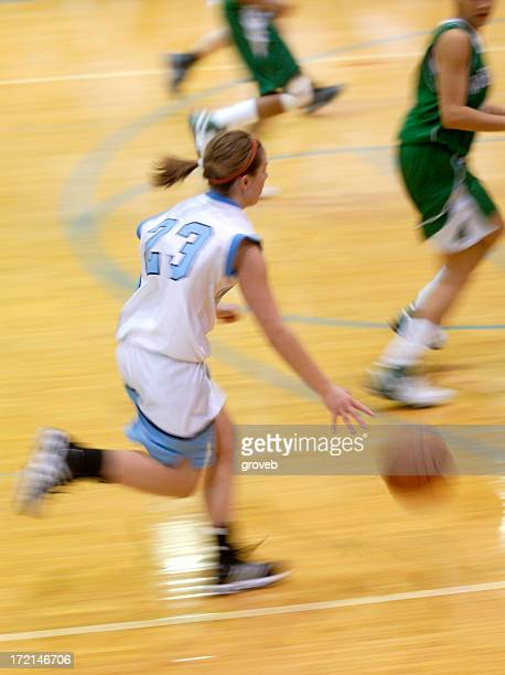Fast action girls basketball