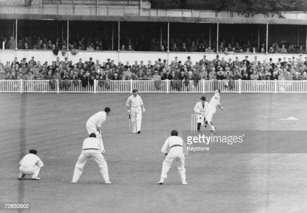 Fast bowler Pat Crawford in action for Australia against Worcester at Worcester 2nd May 1956 The home team were all out for 90 runs