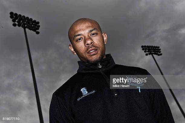 Fast bowler Tymal Mills of Sussex poses for a portrait during the Sussex Media Day at the County Ground on April 4 2016 in Hove England