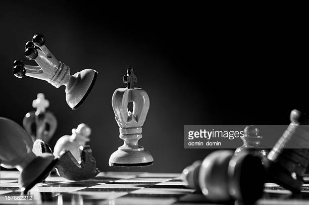 Fast Chess game with power, flying chess pieces, black white