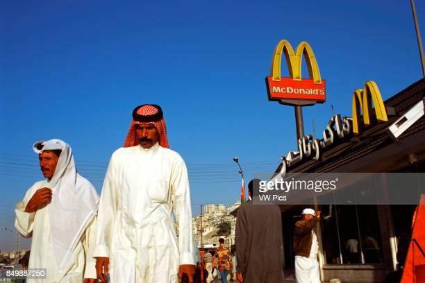 Fast Food chain branch restaurant of Mc Donalds in Amman Jordan American capitalism against classical Muslim society