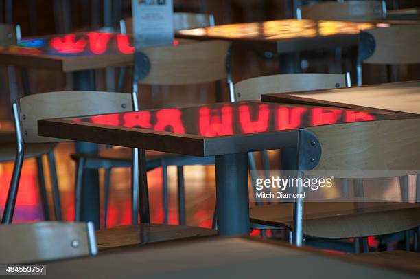 Fast food dining tables and reflections