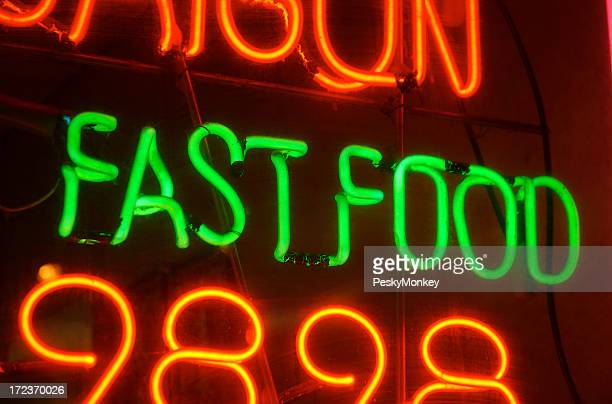 Fast Food Restaurant Neon Sign in Green and Red