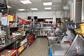 Commercial kitchen of a fast food restaurant