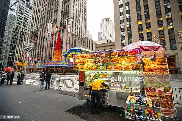 Fast food selling on New York street, USA