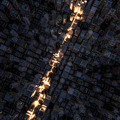 3D render of light streaking through night time city