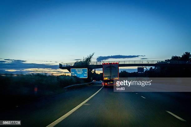 Fast moving traffic on UK M11 motorway