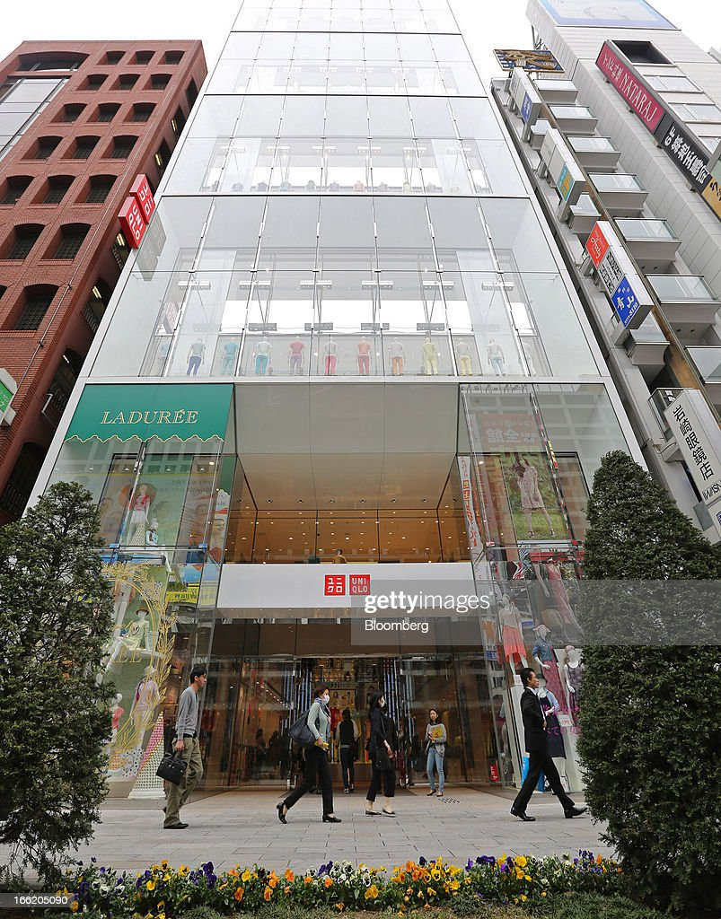 Fast Retailing Co.'s Uniqlo store stands in the Ginza district of Tokyo, Japan, on Wednesday, April 10, 2013. Fast Retailing, Asia's largest apparel retailer, is scheduled to announce earnings tomorrow. Photographer: Yuriko Nakao/Bloomberg via Getty Images