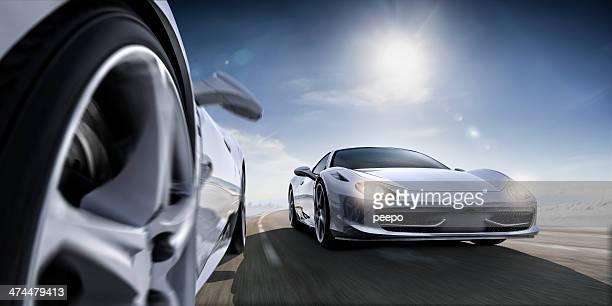 なスポーツ車で極端なクローズアップ