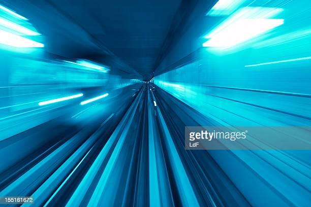 Fast train in a tunnel