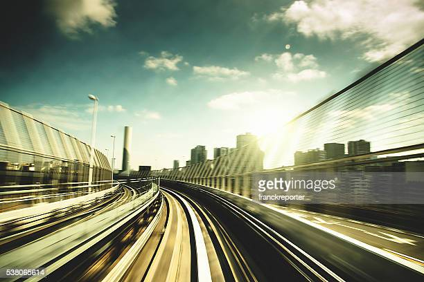 fast train on business area in Tokyo - Japan