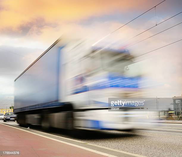 Fast truck in the city