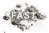 Fast word written in ash, dust or sand as fasting for christian holiday Ash Wednesday, Good Friday, Christmas Eve, Jesus in desert time in lent period