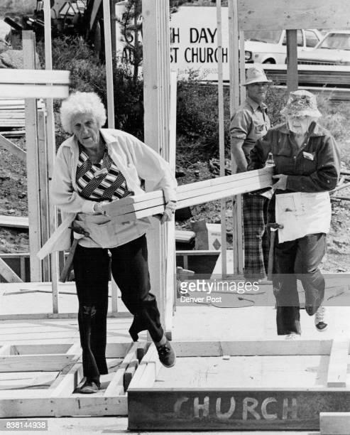 Fast Workers Millie Neuman left and Arabella Williams both of California help Maranatha Flights International build a Seventhday Adventist Church in...