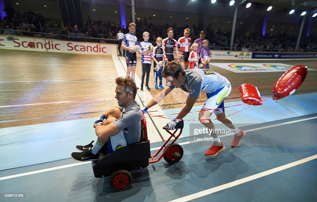 Fastelavn and the riders during day four at the Copenhagen Six Days Race Cycling at Ballerup Super Arena on February 7, 2016 in Ballerup, Denmark.