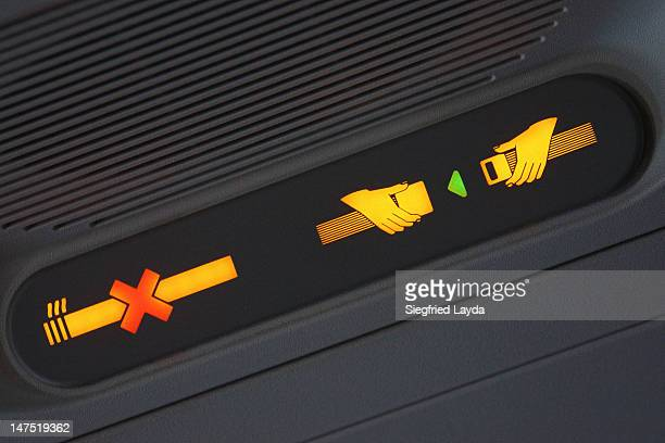 Fasten seatbelt sign on an aeroplane
