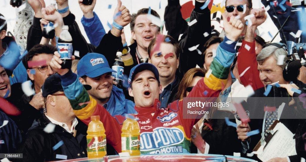 Fast-rising NASCAR star Jeff Gordon celebrates his 1997 win in the Daytona 500. 1997 was Gordon?s first of three wins in NASCAR?s biggest race.