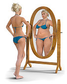 A slim young girl in a bikini looks into the mirror and sees an overweight, unhappy reflection looking back. Photorealistic 3D rendered image isolated against a white background