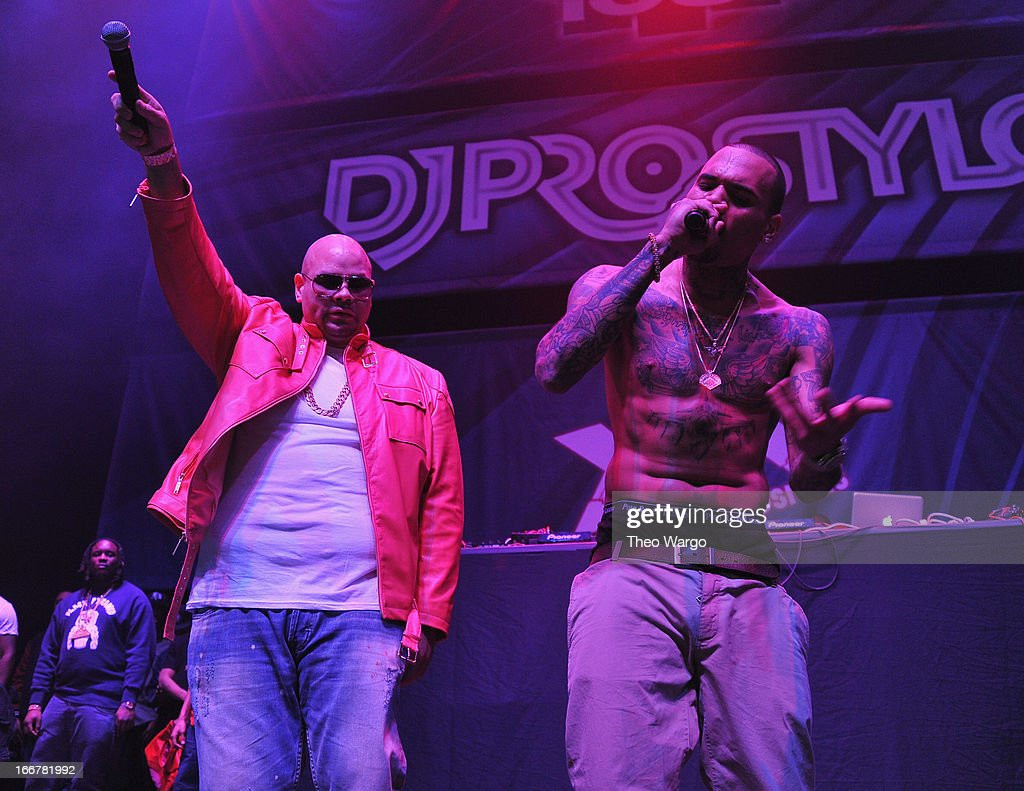 Fat Joe and Chris Brown perform during DJ ProStyle's birthday bash at Hammerstein Ballroom on April 16, 2013 in New York City.